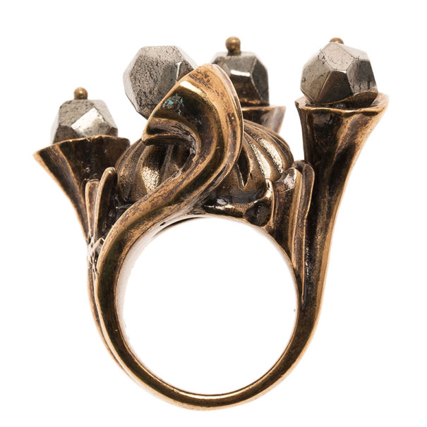 Saint Laurent Paris Shadow Crown Gold Ring Size 50