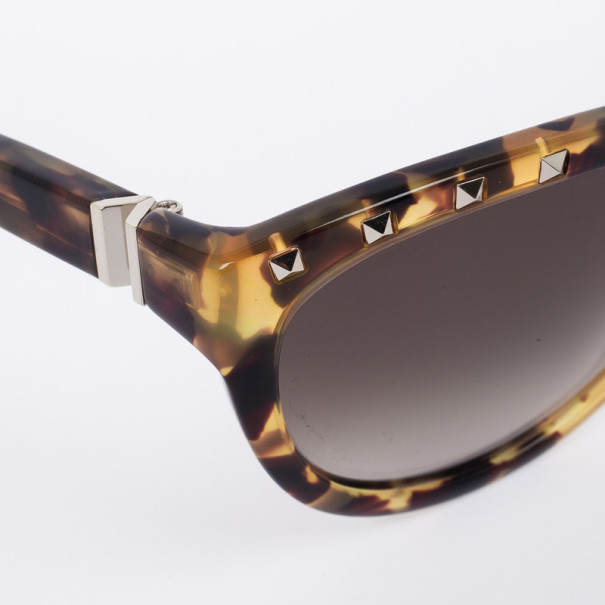 Valentino Leopard 622S Studded Cat Eye Womens Sunglasses