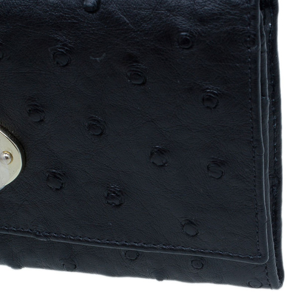 Mulberry Black Ostrich Continental Wallet