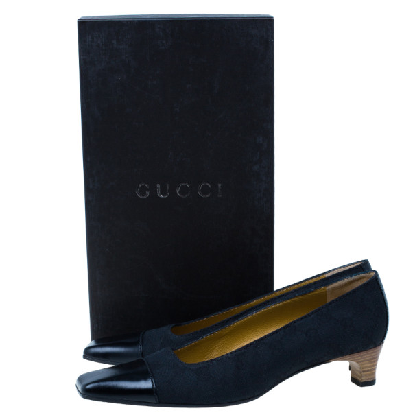 Gucci Black Guccissima Canvas Cap Toe Pumps Size 38.5