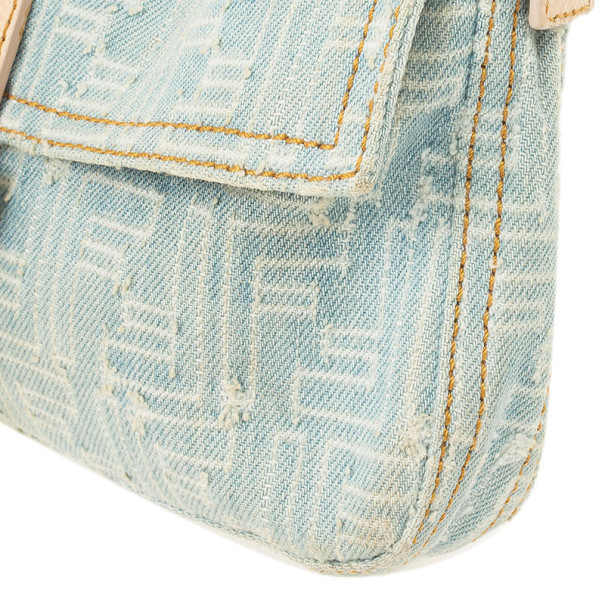 Fendi Zucca Denim Baguette Bag