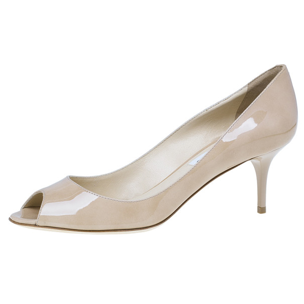 Jimmy Choo Nude Patent Isabel Peep Toe Pumps Size 38