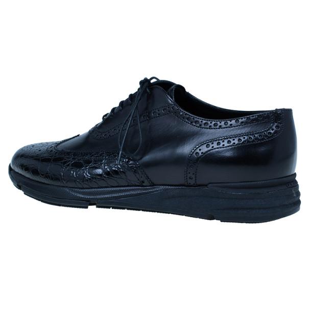 Giorgio Armani Black Croc Embossed Oxfords Size 43