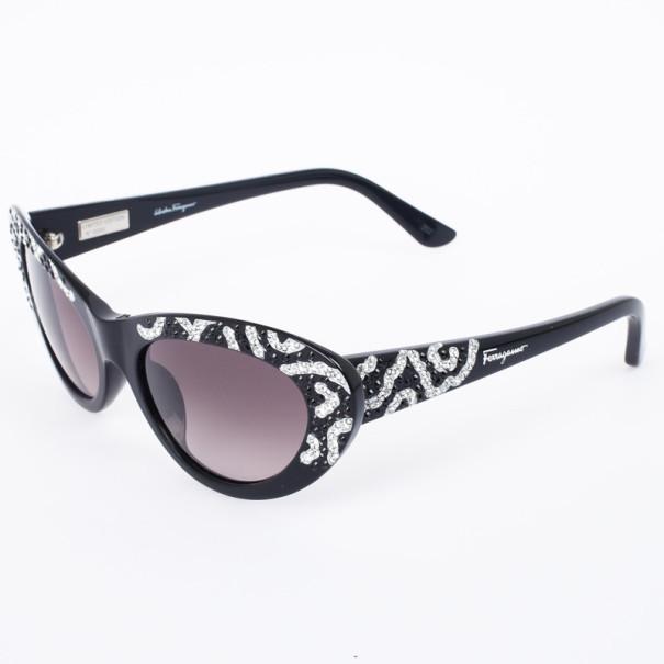Salvatore Ferragamo Black and Silver Limited Edition 625SR Womens Cat Eye Sunglasses