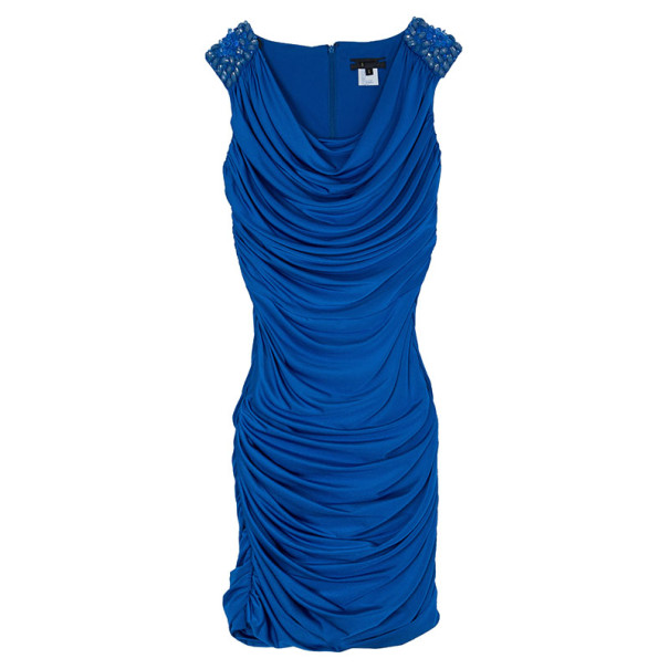Tadashi Shoji Royal Blue Ruched Dress S Nextprev Prevnext