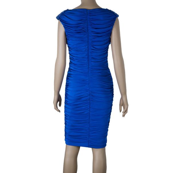 Tadashi Shoji Royal Blue Ruched Dress S