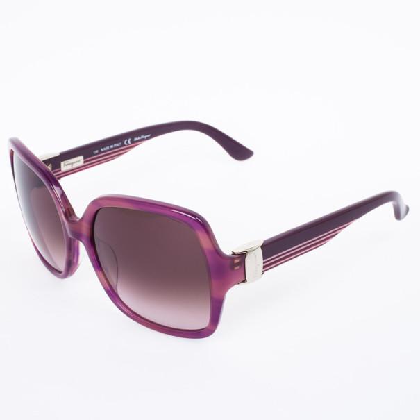 Salvatore Ferragamo Striped Purple 659S Square Oversized Womens Sunglasses