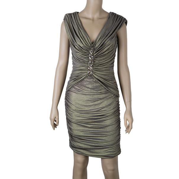 Tadashi Shoji Gold Embellished Dress S
