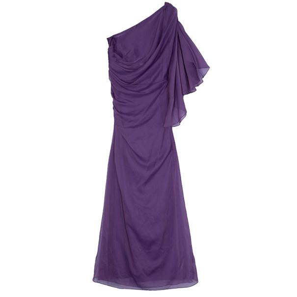 Tadashi Shoji One-Shoulder Chiffon Purple Dress M