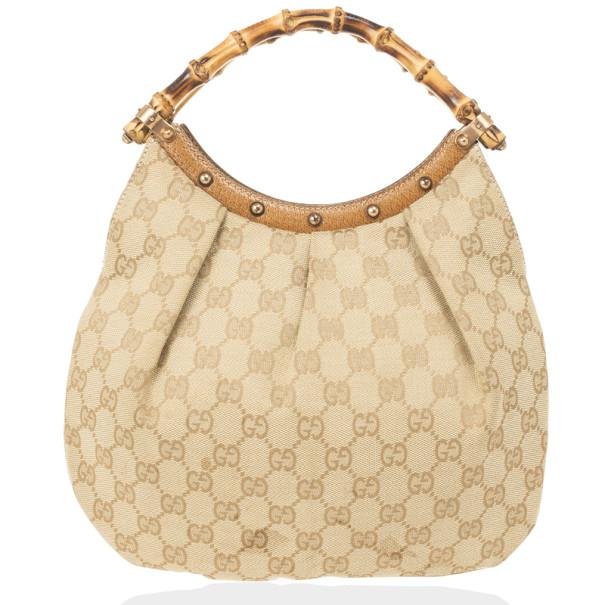 Gucci Monogram Bamboo Handle Bag