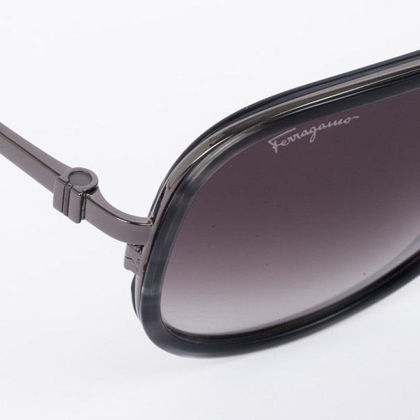 Salvatore Ferragamo Striped Grey 637S Oversized Men's Sunglasses