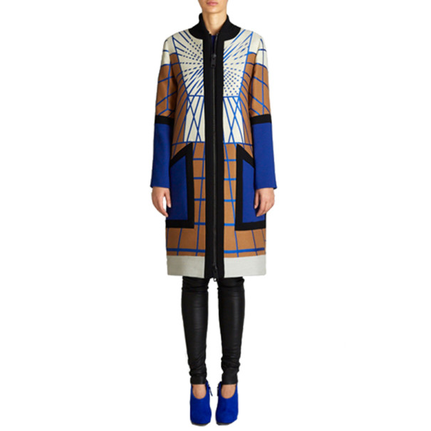 Peter Pilotto Colour-Block Printed Woolen Coat L