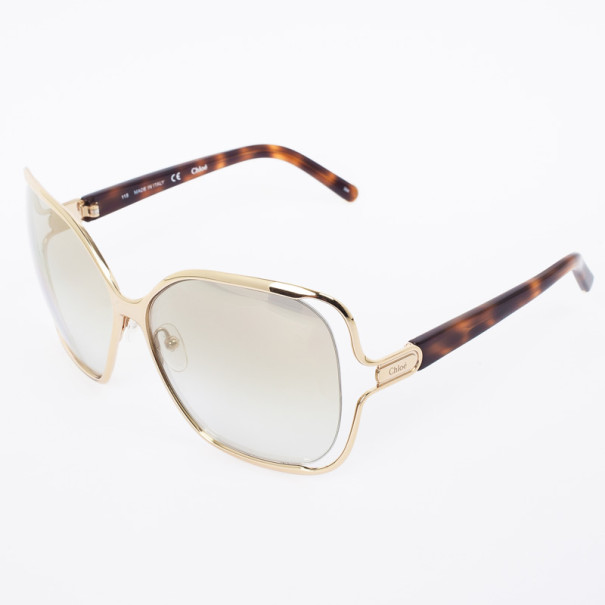 Chloe Gold Havana CE108S Square Women's Sunglasses