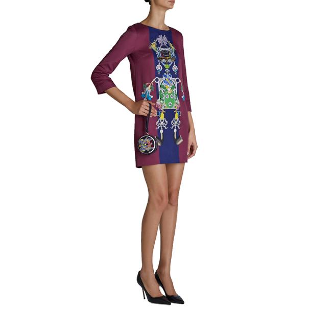 Mary Katrantzou Elio Burgundy Printed Shift Dress S