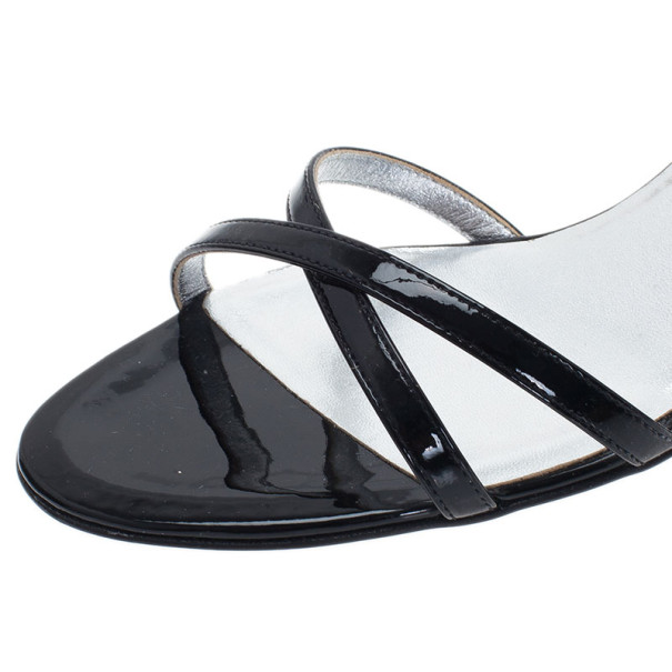 Chanel Black Patent Criss Cross Sandals Size 39