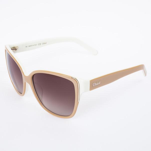 Chloe Beige and White 601S Cat Eye Women's Sunglasses