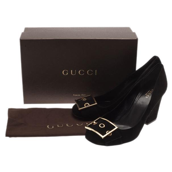 Gucci Black Suede Buckle Block Heel Pumps Size 40