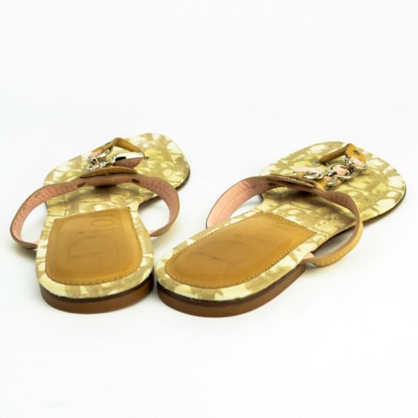 Christian Dior Beige Romantique Thong Flat Sandals Size 36