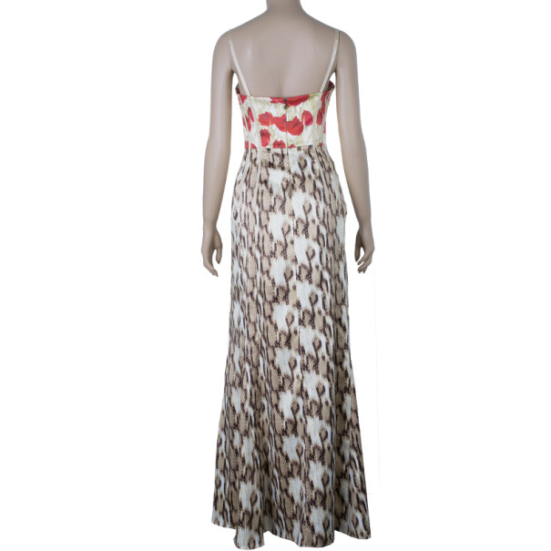 Just Cavalli Floral/Animal Print Maxi Dress M