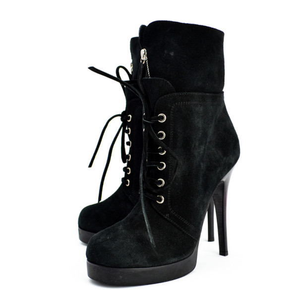 Giuseppe Zanotti Black Suede Lace Up Ankle Boots