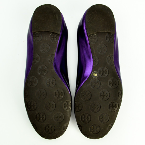 Tory Burch Purple Metallic Reva Ballet Flats Size 38.5