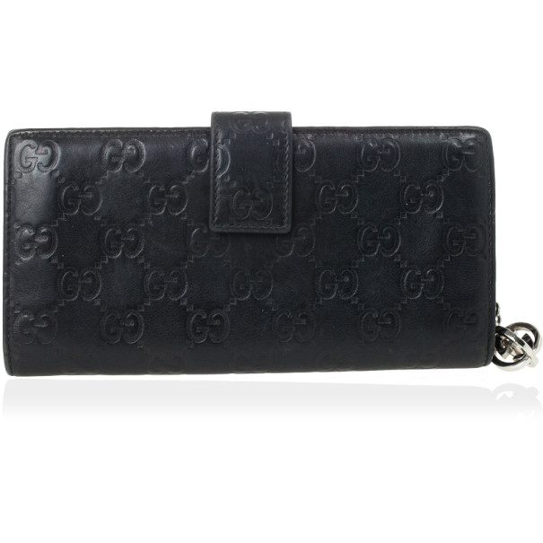 Gucci Black Guccissima Leather Continental Wallet