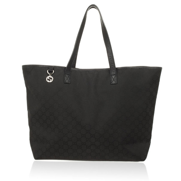 Gucci Black GG Monogram Canvas & Leather Large Tote Bag