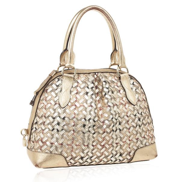 Burberry Metallic Gold Woven Top Handle Bag