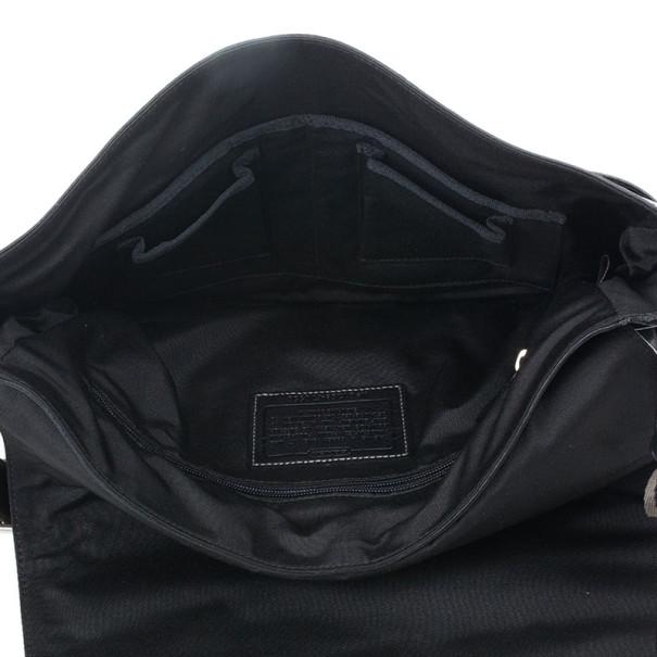 Coach Black Heritage Web Leather Messenger