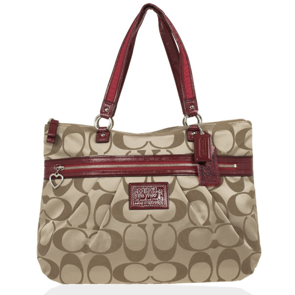 Coach Red Trim Daisy Signature Tote