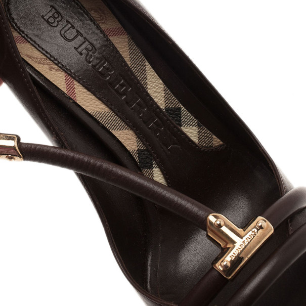 Burberry Brown Leather T Strap Wedge Pumps Size 37