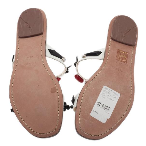 Prada White Patent Saffiano Leather Jeweled Flat Sandals Size 39.5