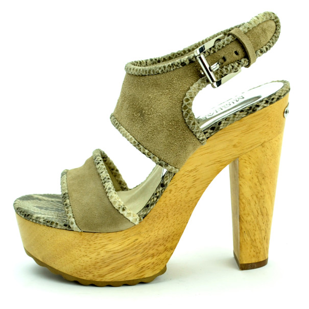 MICHAEL Michael Kors Beige Suede Lilly Platform Sandals With Snakeskin Trim Size 38.5