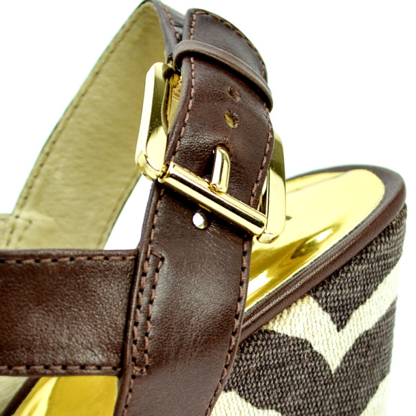 MICHAEL Michael Kors Brown Leather & Printed Canvas Ivana Sandals Size 38.5