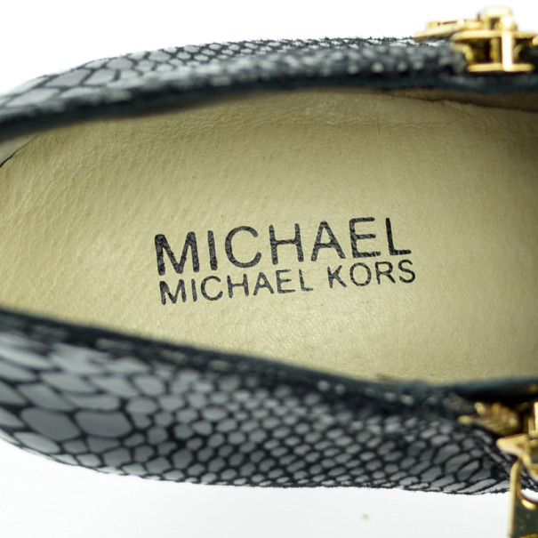 MICHAEL Michael Kors Black Leather & Python York Ankle Boots Size 39.5