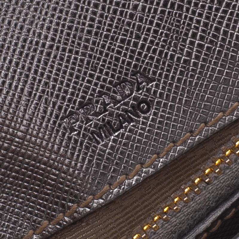 Prada Silver Saffiano Leather Mini Box Clutch