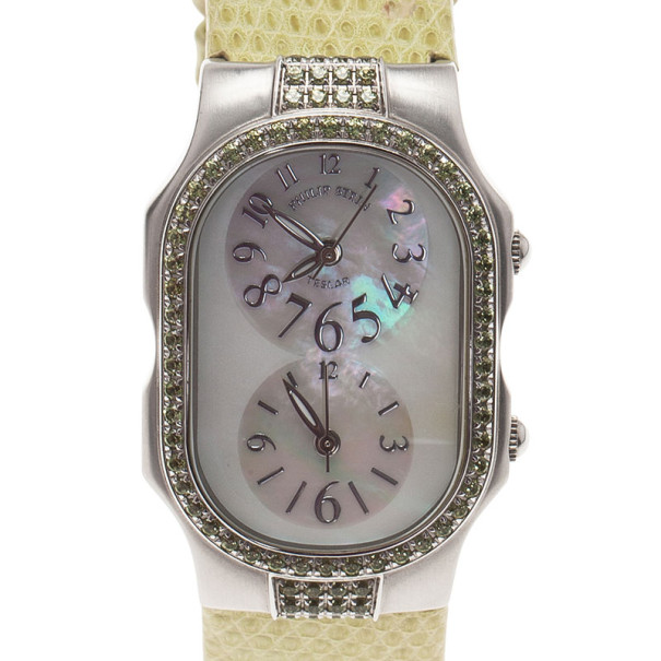 Philip Stein Mother of Pearl Stainless Steel Telsar  Women's Wristwatch 28MM