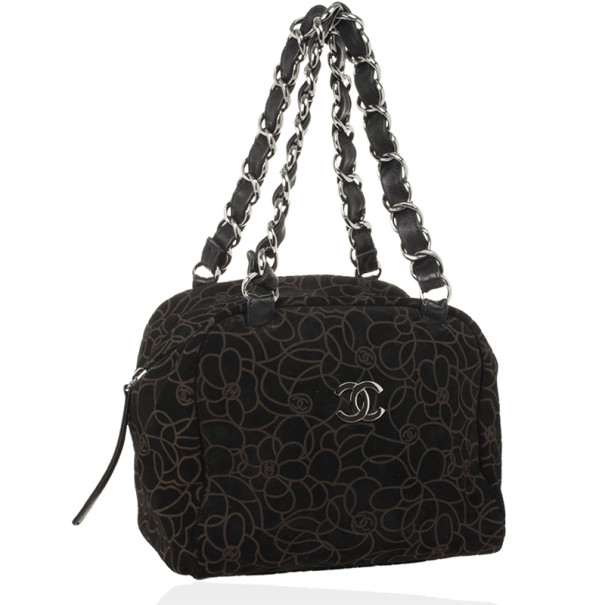 Chanel Black Suede Camelia Embossed Boston bag