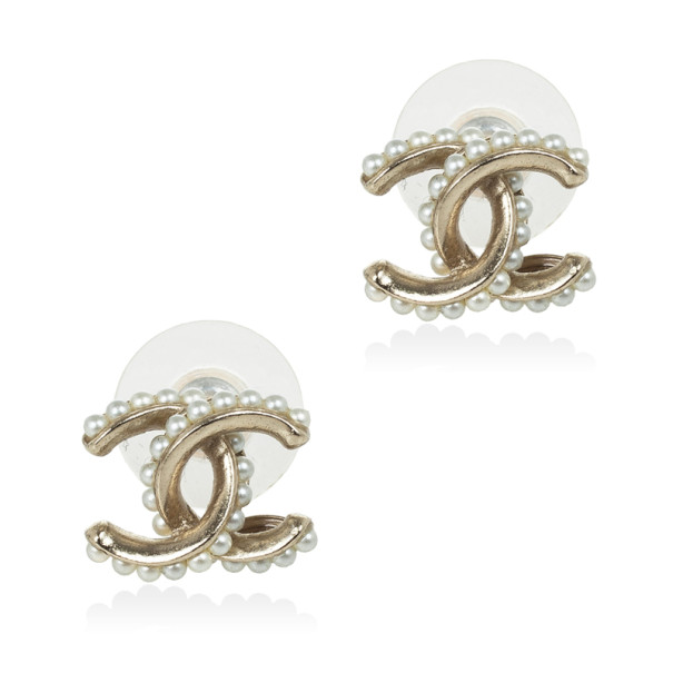 Chanel CC Pearl Logo Stud Earrings