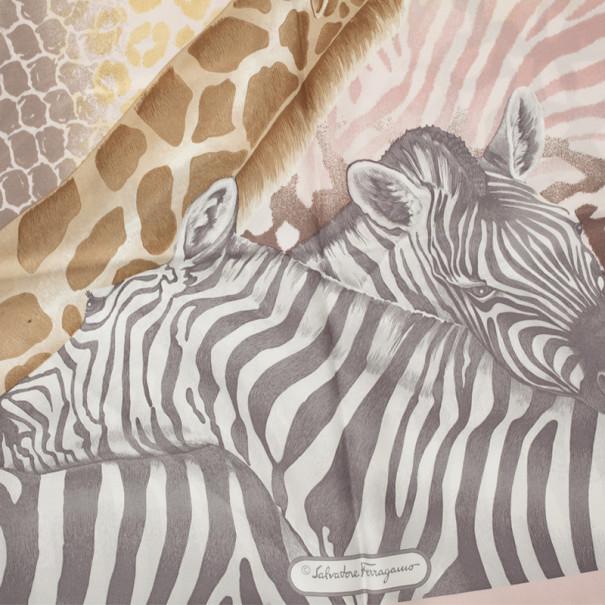 Salvatore Ferragamo Pink African Animal Print Scarf