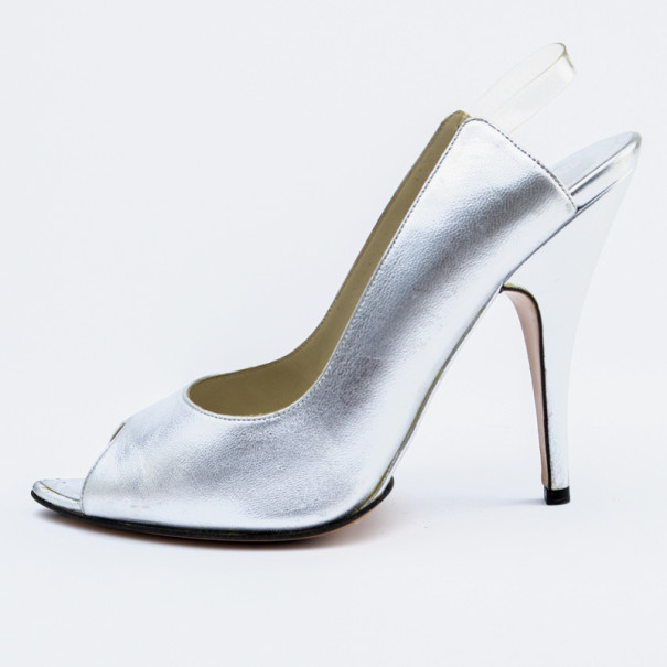 Gucci Silver Leather Toe Slingback Sandals Size 38.5