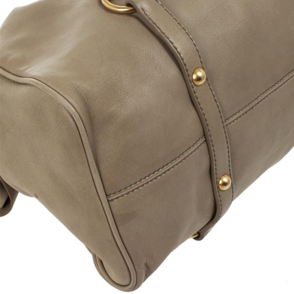 Miu Miu Beige Leather Bow Leather Tote