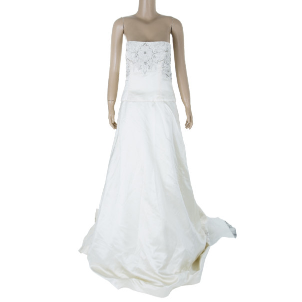 Reem Acra Lush Embellished Wedding Gown L