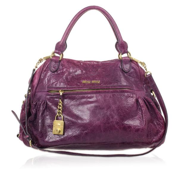 Miu Miu Lily Distressed Purple Leather Bag. nextprev. prevnext wholesale  dealer ... a8fe1e3afd