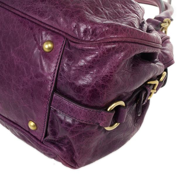 Miu Miu Lily Distressed Purple Leather Bag