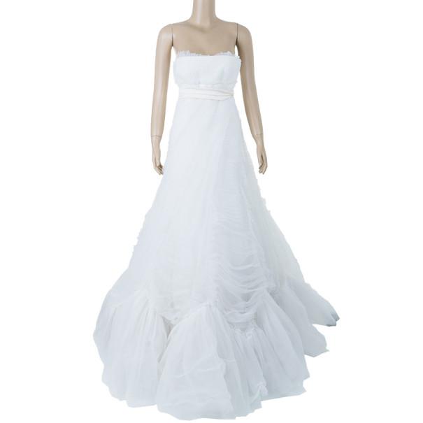 Vera Wang Briana Strapless Pleated Wedding Dress M