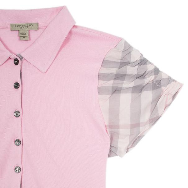 Burberry Pink Check Nova Polo T-Shirt M