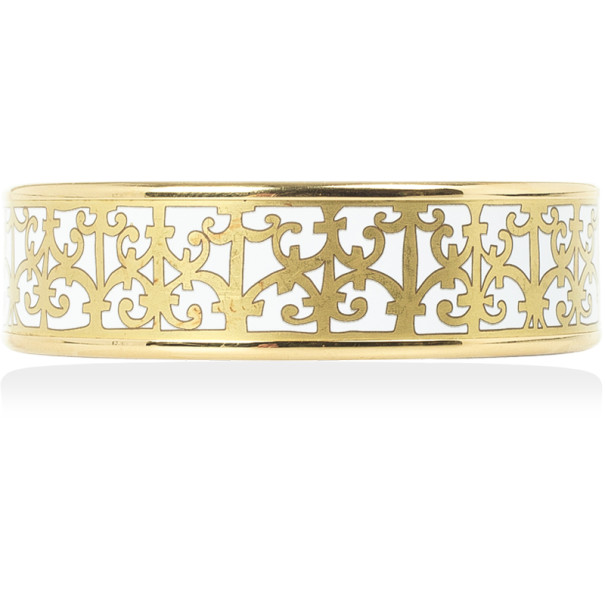 Hermes Balcons du Guadalquivir White Enamel Gold Plated Wide Bangle