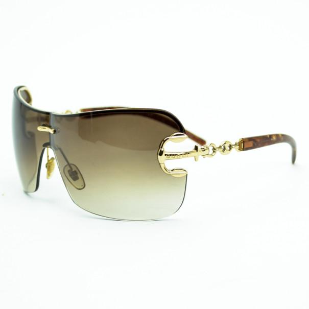 Gucci Brown Anchor Shield Woman Sunglasses