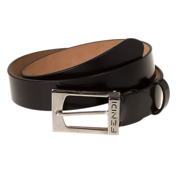 Fendi Black Leather Logo Buckle Belt 100CM